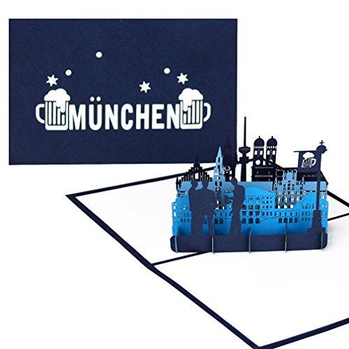 """Pop Up Karte """"München Skyline - München & Bayrisches Bier"""" - 3D Geburtstagskarte aus Bayern als Deko & Souvenir, Einladungskarte, Geschenkgutschein & Reisegutschein zum Oktoberfest"""