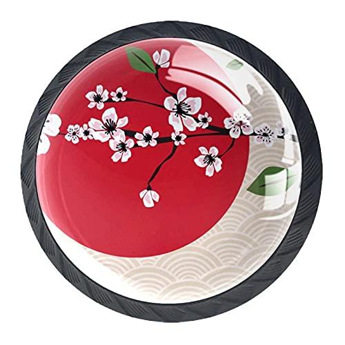 Pomos de cajón sólidos con diseño de flores de cerezo, color rosa japonés, color rojo, 4 unidades