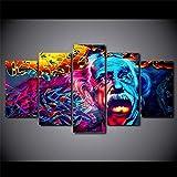 axqisqx Moderne Leinwandbilder Wandkunst Wohnkultur Hd Gedruckt 5 Pieces Abstract Einstein Painting Psychedelic Farbposter