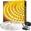 Minger Dimmbar 5m LED Strip, 3000K Warmweiss 300 LEDs Streifen mit 12V Netzteil, 2835 SMD Led Band Leiste für Spiegel Deko Party Küche Weihnachten