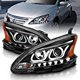 AmeriLite 2013-2015 Projector Dual LED Bar Black Replacement Headlights Set for Sentra - Passenger and Driver Side