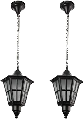 SL Light Pendant Traditional Style Ceiling Hanging Lights Pack of 2 (Black, No Bulb Included)