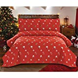 Red Santa Christmas Bedding 3 Pcs Lightweight Thin Bedspread Quilt Set Full/Queen Size Snowflake Candy Canes Printed Xmas Coverlet Blanket Set New Year's Decoration