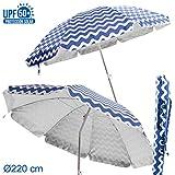 Sombrilla para playa plegable azul de poliéster de 220 cm. - Lola Derek