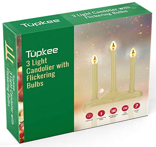 Tupkee Christmas Candolier Window Candles – with Flickering Bulbs – 3-Lights Indoor -Flameless Electric Window Candles Candelabra