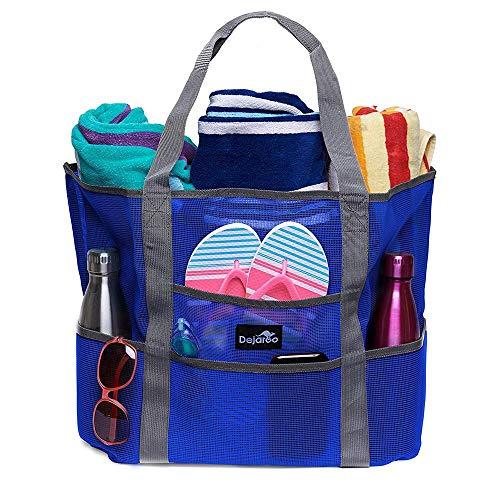 Dejaroo Mesh Beach Bag - Lightweight Tote Bag For Toys & Vacation Essentials (Blue/Grey Handles)