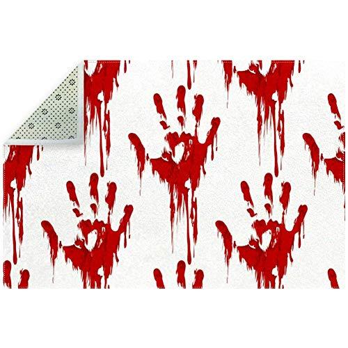Indoor Absorbat Door Mat, Halloween Horror Bloody Hand Print, 79 x 59 Inch Indoor Outdoor Mat Doormat