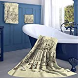 jecycleus Doodle Hotel Selection of Luxury Three-Piece Towels Ancient Colosseum Rome Italy Soft, Durable, Plush and Absorbent Medium Three-Piece Towel