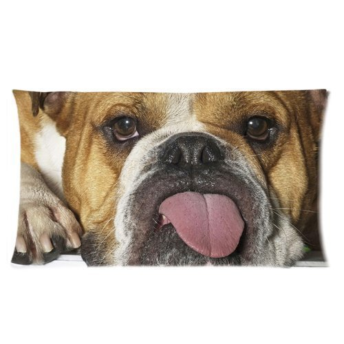 Denise Love Cute Bulldog With long tongue Kiss you Pillow Hülles Cover,decorative pillows for sofa 20x30inch (Two sides)