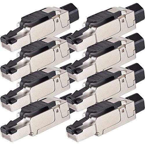 VESVITO 8X CAT 6A RJ45 Netzwerkstecker für CAT 7A CAT 7 CAT 6A CAT 6 Netzwerkkabel AWG23-26, 10 GBit/s 500MHz, PoE++ werkzeuglos Stecker für Verlegekabel Patchkabel Datenkabel Ethernet Netzwerk Kabel