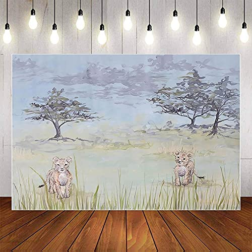Fondo de fotografía Pintura al óleo Selva Vida Silvestre León Fiesta de cumpleaños Baby Shower Telón de Fondo Photocall Photo Studio A1 9x6ft / 2.7x1.8m
