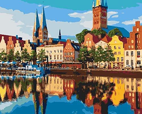 Pintar por Numeros Adultos Ciudades Portuarias Alemanas Pintura Guiada por Numeros,Niños DIY Pintura por Números con Pinceles y Pinturas-hogar decoración de casa (sin marco) 40 x 50 cm