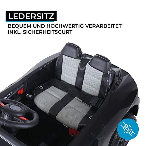 Actionbikes Motors Kinder Elektroauto Super Sport - Ledersitz - Mp3 - USB - SD - 2,4 Ghz Rc Fernbedienung mit Not Stop - Softstart - Elektro Auto für Kinder ab 3 Jahre (Schwarz)
