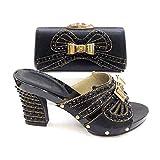 ER-Hoesing Señoras zapatos y bolsos italianos para que coincida conjunto decorado con los zapatos las señoras del Rhinestone a juego con zapatos fiesta bolsas del conjunto Black 40