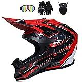 VOMI Casco Todoterreno Adultos Casco de Motocross con Gafas, Máscara y Guantes, Casco Downhill Set, Cascos de Cross de Moto Unisex para Niños MTB BMX ATV Cascos Go Kart Off Road Dirt Bike, Rojo,XL
