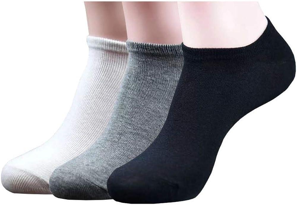 Basic Color Cotton Ankle Socks - 3 Pairs (Black, White, Gray)