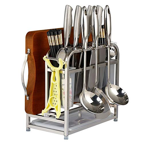 AIYoo Cutting Boards Knife Organizer with Hooks/Stainless Steel Kitchen Utensils Rack Chopping Boards/Knives/Chopsticks/Spoon/Fork/Flatware Storage with Drying Drainer