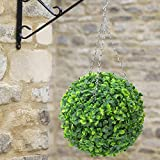 Windscreen4less Artificial Topiary Ball Faux Boxwood Plant for Indoor/Outdoor Garden Wedding Decor Home Decoration 15 Inch Sempreverde 1 Pieces