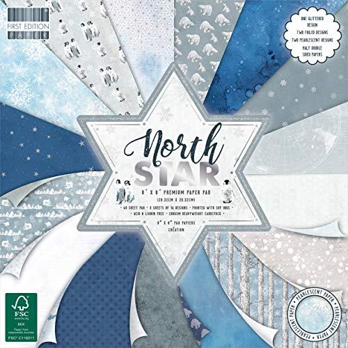 Dovecraft First Edition FSC 8x8 Christmas Paper Pad-North Star Premium Craft Cardstock-Blocco di Carta, 20 x 20 cm, Motivo: Stella del Nord, Multicolour, 8'x8'