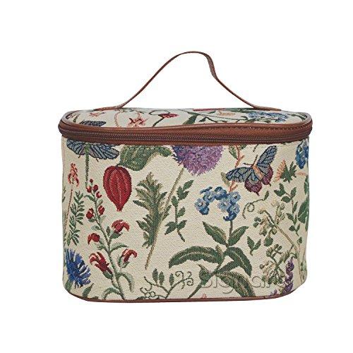 Signare Tapestry Arazzo Porta Trucchi da Viaggio, Borsa Trucco Trousse Make up Borsa Beauty Case Donna con Disegni da Giardino (Mattina Giardino)