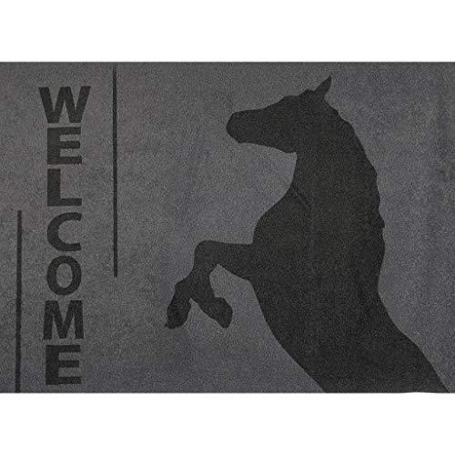 HKM Fußmatte -steigendes Pferd- 70x50cm, Farbe:9591 grau/schwarz, Größe:St