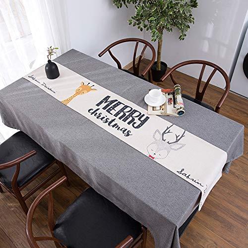 Nappe de Table Basse, Couverture de Meuble TV Anti-poussière, Drapeau de Table Longue, Nappe de Meuble de télévision, Lin en Coton Bei(; 30 * 140cm)