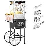 ROVSUN Popcorn Machine w/Cart & Wheels, 8 Ounce Kettle Popcorn Maker w/Double Doors, Popcorn Scoop, Oil Spoon & 3 Popcorn Cups, 850W, Black