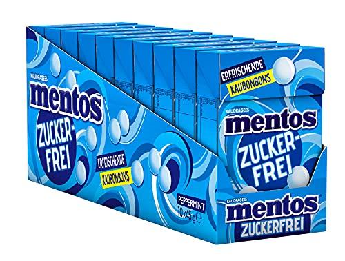 Mentos Peppermint-Zuckerfrei, 10 x 45g Böxli, intensive Pfefferminz-Kaubonbons