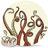 Set di 4 tappetini sottobicchieri per tentacoli di polpo - Sottobicchieri in pietra che assorbono l'umidità con base in sughero, adatti per tipi di tazze e tazzine Kraken in schizzo Mostro marino Vi