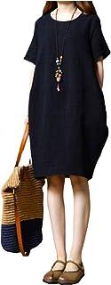 [エムエルーセ] 半袖 ワンピース 夏 綿麻 無地 ゆったり リネンスカート ラウンドネック スカート チュニック 2 カラー M - 3XL レディース