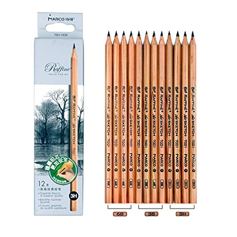 12PCS Marco 7001 Pre-sharpened Wood Pencils, 4PCS 3H Drawing Pencils + 4PCS 3B Sketching Pencils + 4PCS 6B Art Pencils, Perfect Pencil Set For Artist And Basis Art Learner