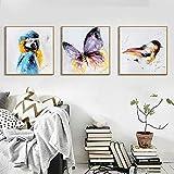 Dibujos animados animal loro mariposas arte minimalista lienzo pintura moderna estética hogar habitación de niños decoración de pared obra de arte / 40x40cmx3 sin marco