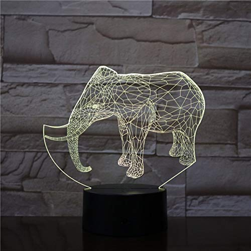 Colorful Three-Dimensional Elephant Shape 3D Desk lamp Illusion Color LED Acrylic Desk Atmosphere | Bedside Table lamp dimmable