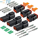 (3 Set) Deutsch 2-Pin Solid Contact 14-16 18 AWG Connector Set Pins & Seals Size #16 (Black)