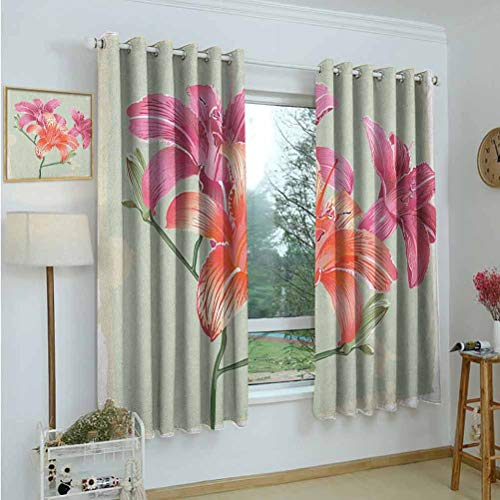 Insulating Blackout Curtains Vintage Floral,Lily Flowers on Grunge Backdrop Gardening Plants Growth Botany,Pale Green Salmon Pink,Insulating Room Darkening Blackout Drapes for Bedroom 42'x45'