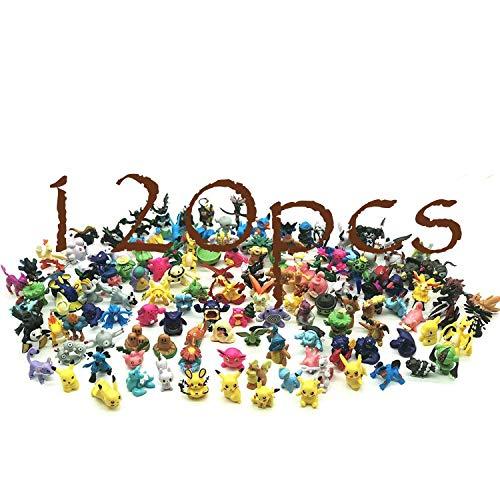 JIM - 120 pcs pokémon Figuras,Figura de Pokemon Adecuado para Fiestas, Regalos, fanáticos de Pokémon