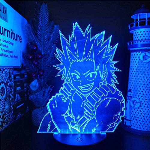 Luz De Ilusión 3D Luz De Noche Led Boku No Hero Academia Kirishima Eijiro Lámpara De Mesa Sensor Atmósfera Mesita De Noche Decoración Del Hogar Cumpleaños Para Niños