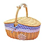 Wicker Picnic Baskets with Handle & Lid, Oval Willow Woven Picnic Basket Candy Basket Storage for Camping Hiking Wedding Blue