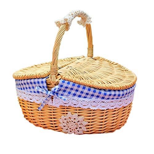 Danny Queen Wicker Picknickkörbe, Ovaler Handgefertigter Weben Picknickkorb mit Doppeldeckel, Futter und Griff Einkaufskörbe Aufbewahrungskörbe Korb für Familie Camping Picknicks BBQ