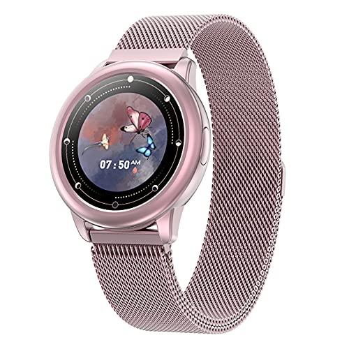 BNMY Smartwatch Mujer Reloj Inteligente Impermeable Monitor De Sueño Y Caloría Pulsómetro Modos De Deportes, Notificaciones Inteligentes, Reloj Deportivo Mujer para Android iOS,E