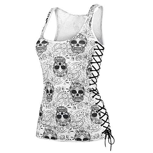 HuaCat Sommerfrauenweste T-Shirt Schwarzes Bodenshirt V-Ausschnitt T-Shirt Mit Totenkopf-Print Und Dekorativem Metallunterhemd Aus Metall Top (M, Weiß)