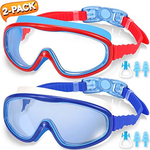 EasYoung Premium Kinder Schwimmbrille, Wide Vision Schwimmbrille für Kinder (4-14 Jahre), mit auslaufsicherem Design, bruchsicherer Anti-Fog-Linse und Schnellverschluss - 100% UV-Schutz, 2er Pack