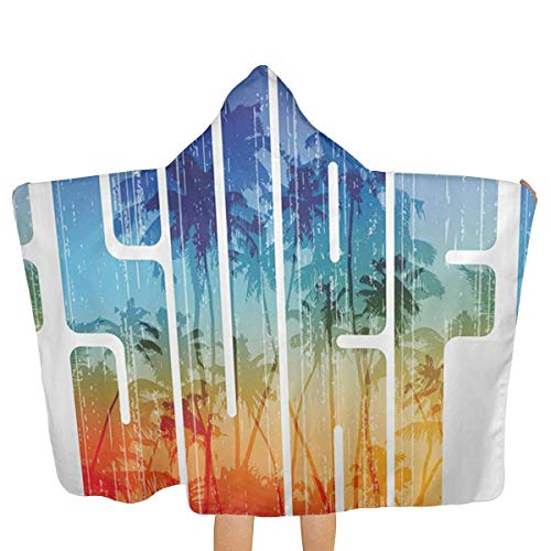 qisile Toalla de bano Summer Surf Retro Letter Hooded Beach Towels,Pool Bath Towel Soft Microfiber Multi-Purpose Poncho Swim Cover Changing Robe Fun Multi-Use for Bath Shower Pool Swim 32x52 Inch Ki