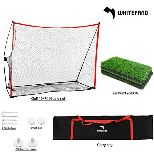WhiteFang 3pc Golf Net Bundle | 10x7ft Golf Practice Net | Tri Turf Hitting Mat with Carry Bag for Practice Driving Indoor Outdoor Backyard