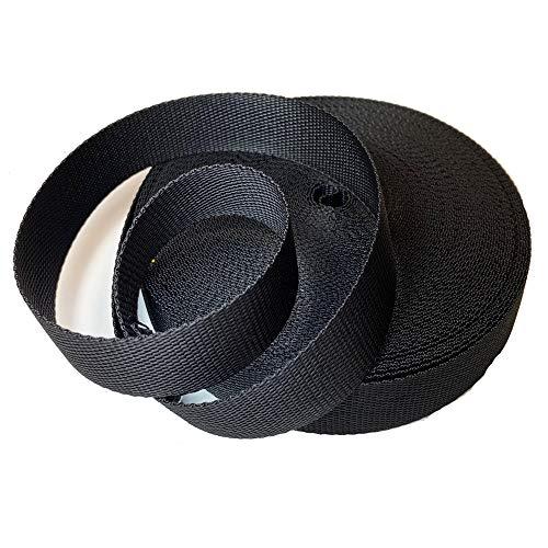 Cinta nylon polipropileno de 3 cm y 25metros para mochilas, riñoneras, cinturones (negro)