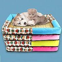 CQQ 大中小の犬猫ペットの夏のアクセサリーのためにペットの巣夏マットケンネル印刷スピニング布猫のトイレ (Color : Yellow, Size : L)