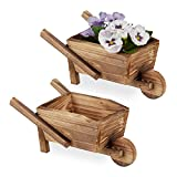 relaxdays carriola porta fiori, set doppio, legno effetto bruciato, decorazione giardino vintage, giardinaggio, naturale