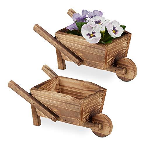 Relaxdays Pflanzschubkarre 2er Set, gebranntes Holz, Gartendeko, Vintage Design, zum Bepflanzen, HBT: 10x22x12 cm, Natur