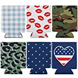 Can Coolies, 6 PCs Insulated Koozies Coozies Coolers Holder Covers Sleeves for Beer, Soda, Drink, Glass Cup, Water Bottle at Bar, Party, Beach, Camping & Outdoor