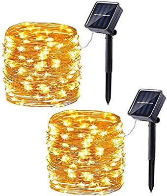 Solar Powered 100 LEDs String Lights, Decorative Icicle Copper Wire Light for Indoor/Outdoor Gardens Homes Wedding Holiday Party Auto On/Off Waterproof Fairy Gazebo String Lights 10M Warm White 2 Pack